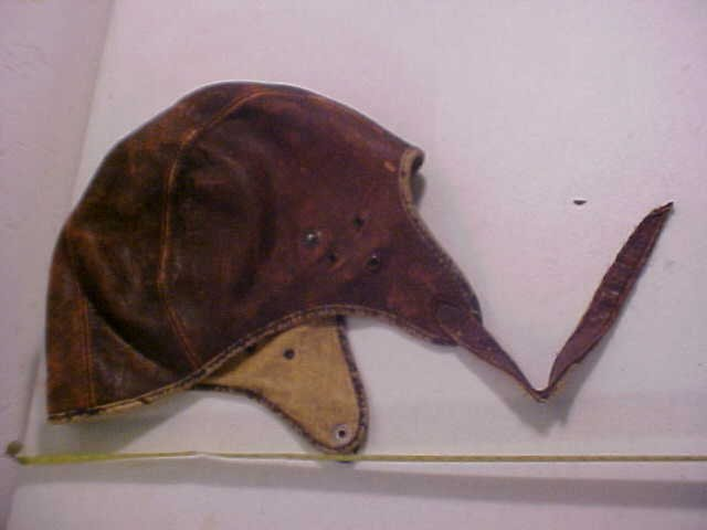 16: Early Leather pilot's cap.