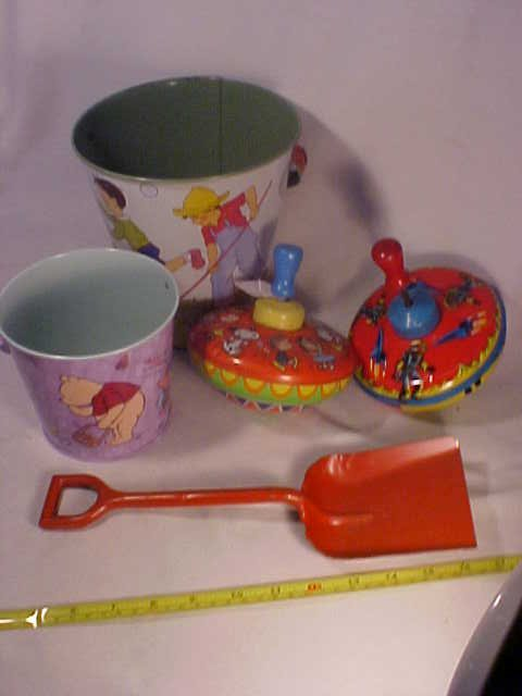 28: Lot of Tin Toy Tops, Buckets w/ Shovel