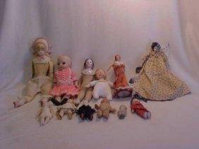 139: Lot of bisque, porcelain & china dolls