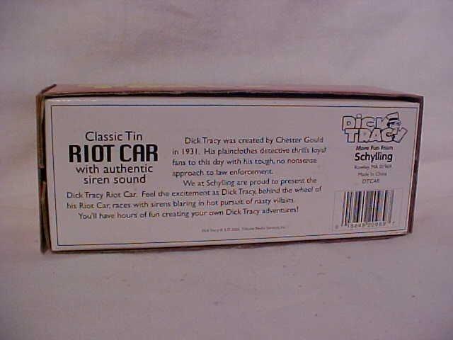 1: Tin litho Dick Tracy Riot Car.  By Schylling w/origi - 8