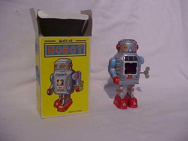 "7: Tin Litho Wind Up ""Walking Robot"" Toy - 2"