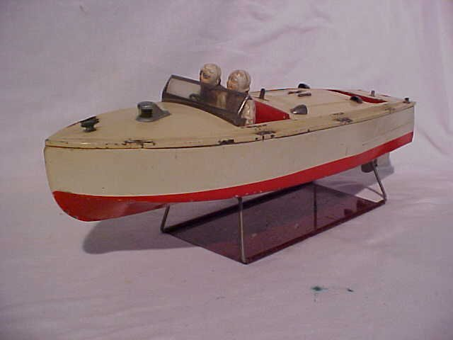 8: Vintage Racing boat Wind Up w/ Stand