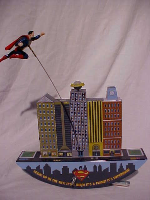 """15: Tin Litho Wind Up """"Superman Leaps Tall Buildings"""" T"""