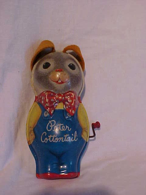 44: Tin litho Peter Cottontail toy doll  Mattel