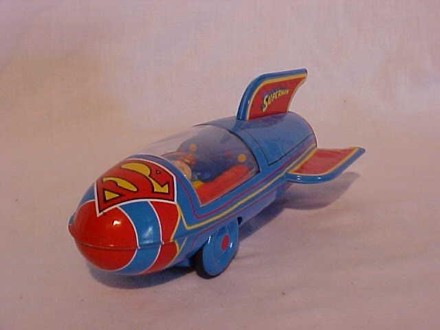 """26: Tin Litho """"Superman Rocket"""" Toy"""