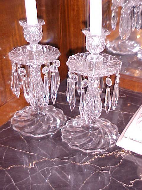 4: Pair crystal Candle stands w/prisms.