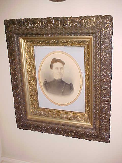 6: Victorian picture of woman in ornate Jesso frame.