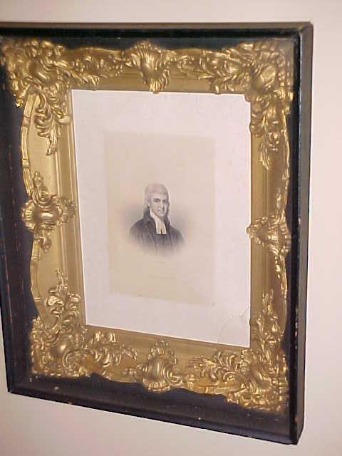 9: 1799 Engraving of Rev. Thomas Allen in Shadow box fr