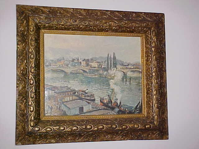 15: Victorian frame jesso decorated print of Harbor.