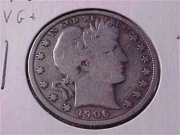 1: 1906 D Barber half dollar VG+