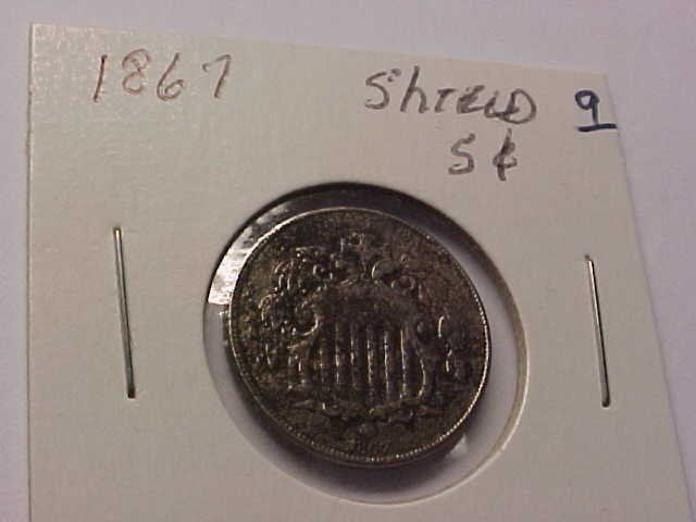 9: 1867 Shield nickel