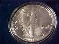 54: 1988 Silver Eagle $1 coin w/case. 1oz