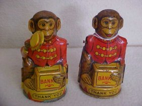 2: Lot of 2 tin litho monkey coin banks made by J Chein