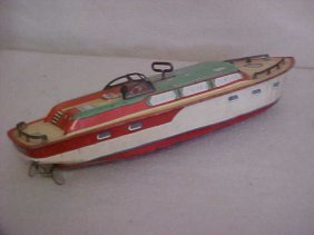 "8: J Chein tin litho ""Princess Pat"" wind up boat"