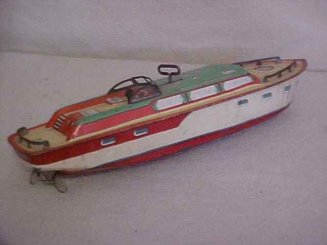 "8: J Chein tin litho ""Princess Pat"" wind up boat"