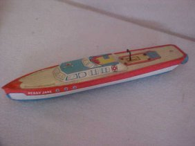 """9: Chein tin litho wind up boat """"Peggy Jane"""""""