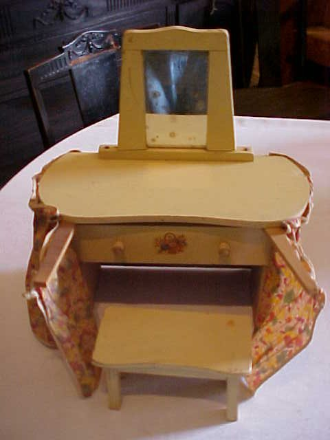 13: Doll house size vanity with mirror and stool