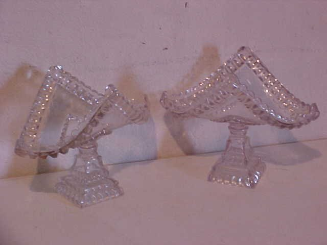 3: Pair of crystal press glass compotes
