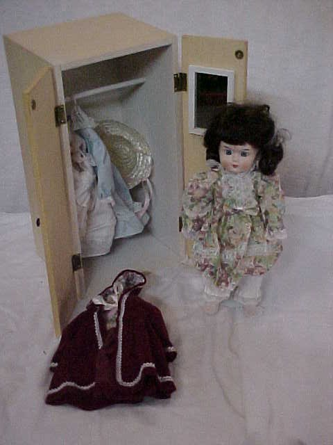 "3016: Porcelain doll w/Armoire & Accessories 10-1/2""tal"
