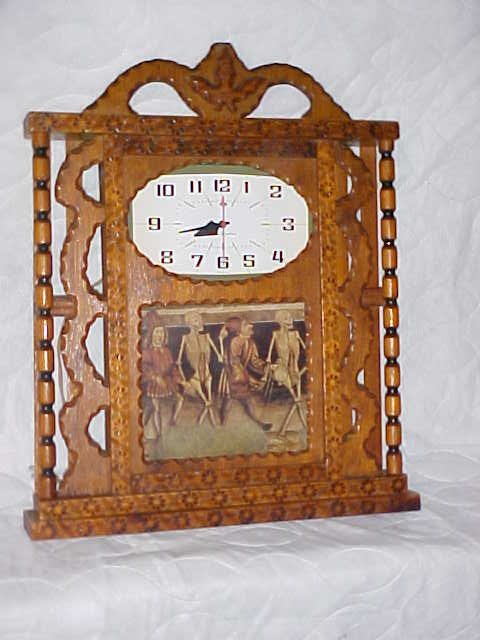 4050: Orignial Signed Howard Finster folk art clock.
