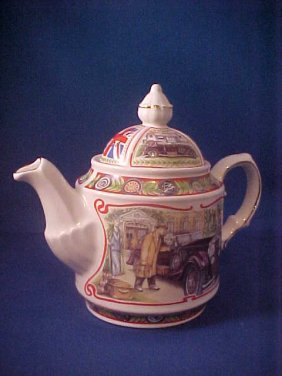 """4004: Signed Sadler china tea pot """"Golden Age of Travel"""