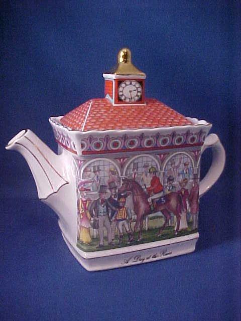 "4010: Signed Sadler china tea pot ""A Day at the Races"""