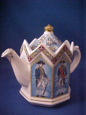 "4014: Signed Sadler china tea pot ""Vice Admiral Lord Ne"