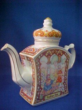 """4018: Signed Sadler china tea pot """"Indian Tea"""""""