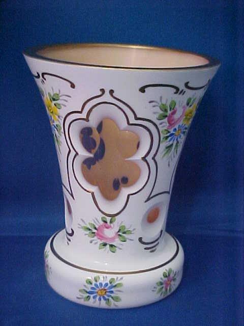 4011: Bohemian pink glass vase.