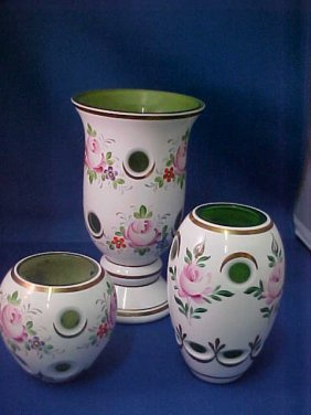 Lot Of 3 Bohemian Green Cut To Clear Vases.