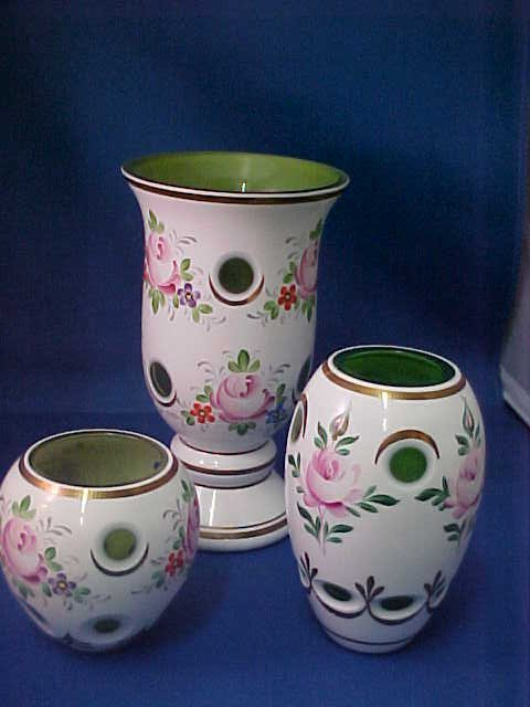 4019: Lot of 3 Bohemian green cut to clear vases.