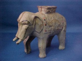 4021: Early cast iron Elephant coin bank.