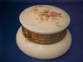4023: Wavecrest dresser jar handpainted floral pattern.