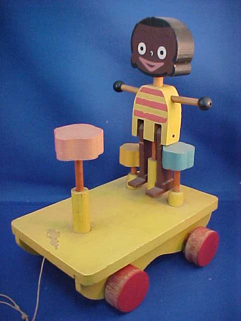 Early wooden mechanical pull toy