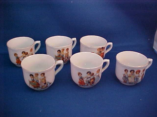 Signed Germany set of 6 child's tea cups