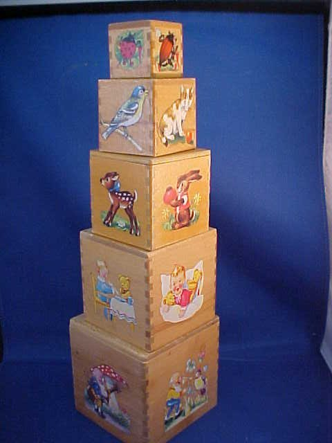 Set of 5 Wooden stacking blocks