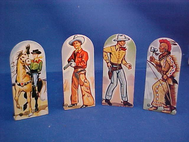Set of 4 Marx tin litho toy targets-cowboys and indian