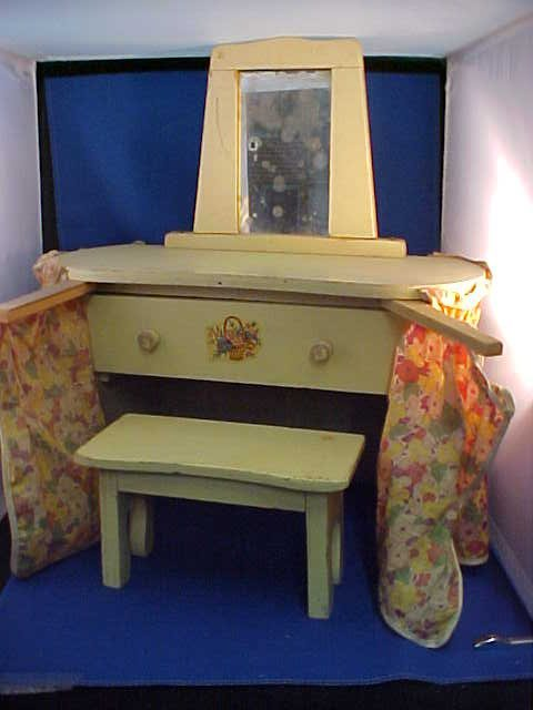 Early doll house vanity w/bench