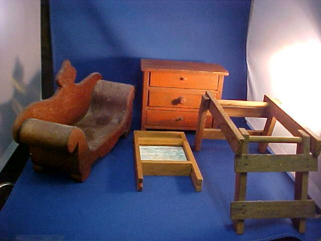 Lot of 4 wooden doll house furniture