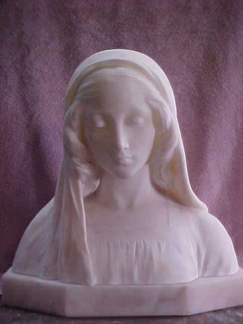 Early Handcarved marble bust Maddona by G. Gambogi