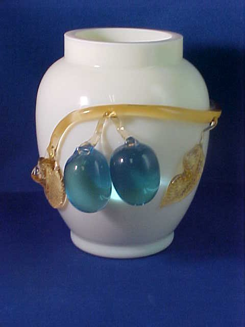 Hand blown yellow art glass vase w/applied grapes.