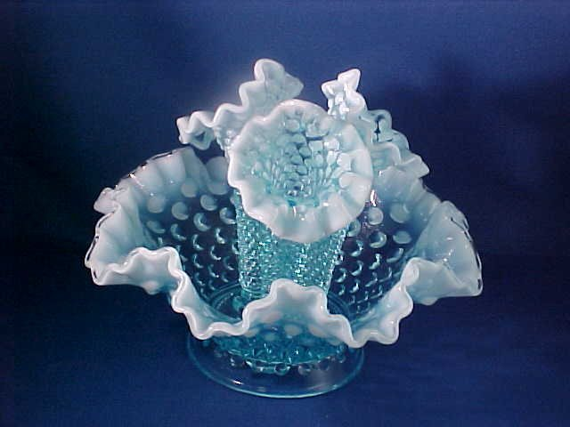 "Blue & White Opalescent hobnail epegrne.6"" tall."
