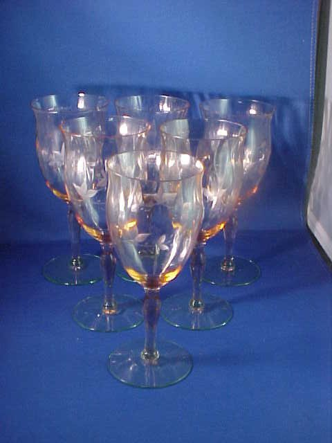 Set of 6 Cambridge stemware etched glass w/green base.