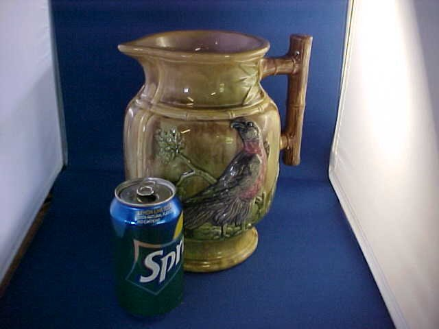 """Early English Majolica large water pitcher 9-1/2""""tall."""