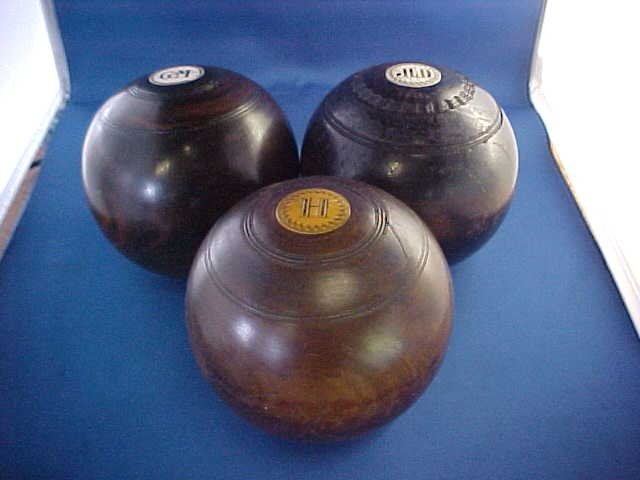 Lot of 3 Early Engish lawn balls w/ivory inlay 1870's