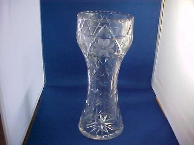 "Tall cut crystal vase 12""tall. Early cutglass"