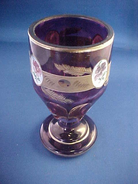 "Dark purple art glass vase w/gold decorations. 5-1/4"""