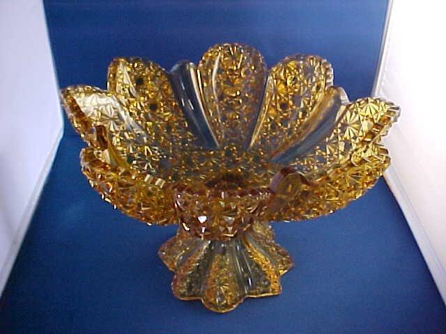 Large pedestal amber button & bowes pattern glass