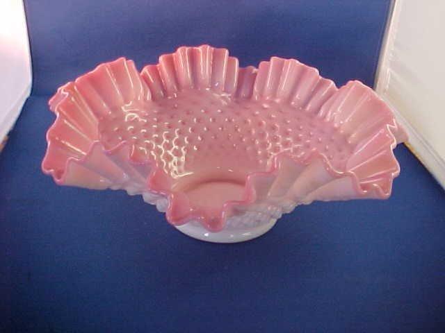 Pink & White fluted Victorian brides basket artglass.