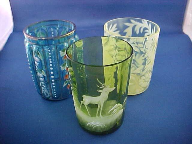 """Lot of 3 Victorian art glass tumblers 4""""tall"""